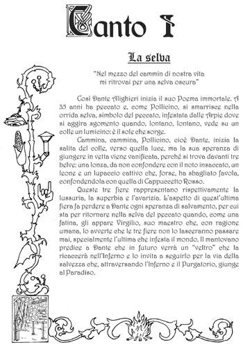 La Divina Commedia Di Dante Alighieri Inferno Canto 1